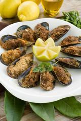 Cozze gratinate, Mussels Gratin, Mediterranean Food
