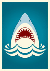 Shark jaws.Vector background illustration