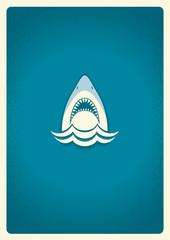 Shark jaws logo.Vector blue symbol illustration