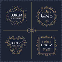 Luxury Logos Set template flourishes calligraphic elegant