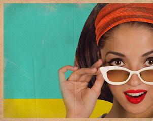 Retro pretty woman face with white sunglasses