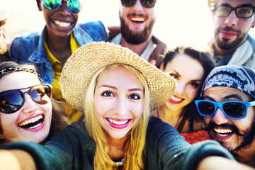 Diverse People Beach Summer Friends Fun Selfie Concept