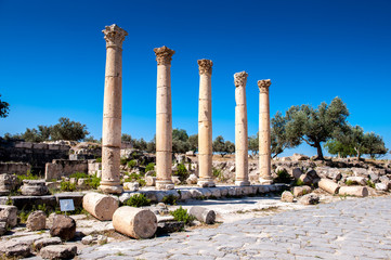 Colums of the ancient city of Gadara, modern Jordan
