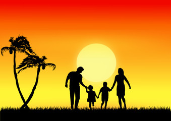 family in the sunset background.vector file
