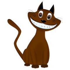 Cute brown cartoon cat smiling