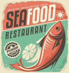 Wall Mural - Retro seafood restaurant poster