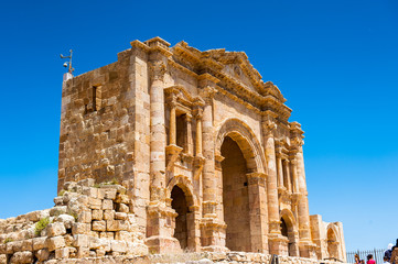 Arch of Hadrian, built to honor the visit of emperor Hadrian to Jerash. Ancient Roman city of Gerasa