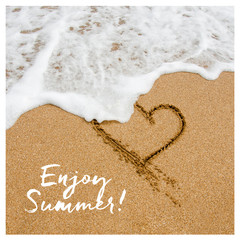 Enjoy summer card design. Shape of the heart in the sand on the
