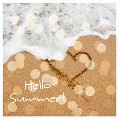 Hello summer card design with bokeh. Shape of the heart in the s