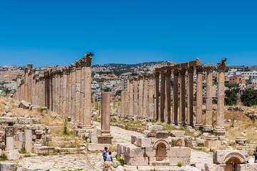 Columns in the Ancient Roman city of Gerasa, modern Jerash, Jordan