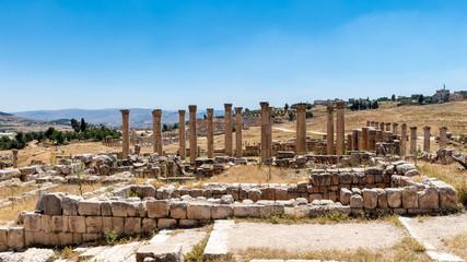 Columns near the Artemis Temple, Ancient Roman city of Gerasa of Antiquity , modern Jerash, Jordan