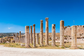Columns near the Artemis Temple, Ancient Roman city of Gerasa of Antiquity , modern Jerash, Jordan