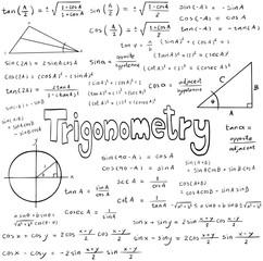 Trigonometry law theory and mathematical formula equation, doodle handwriting sheet