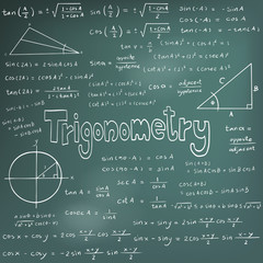 Trigonometry law theory and mathematical formula equation, doodle handwriting vector