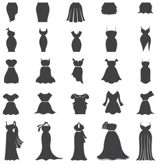 Silhouette woman fashion, clothes, and dress icon set design for shopping vector
