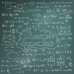 Thermodynamics law theory and physics mathematical formula equation vector
