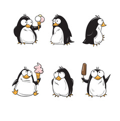 Set with cute cartoon penguins with ice cream.