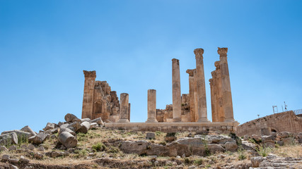 Zeus Temple, Ancient Roman city of Gerasa of Antiquity , modern Jerash, Jordan