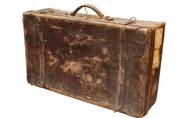 Old used weathered vintage grunge suitcase isolated on white background