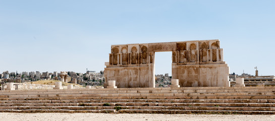 Ruins of the Amman Citadel complex (Jabal al-Qal'a), a national historic site at the center of downtown Amman, Jordan.