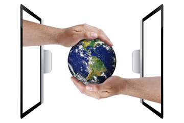 Top view hands coming out from monitor pc sharing earth globe isolated