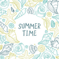 Abstract vector summer background. Seashell round design element. Banner with seashells and starfishes.