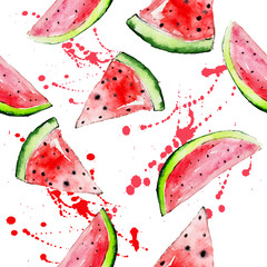 Vector watercolor bright  watermelon seamless pattern with