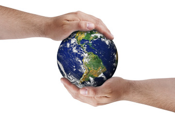 Hands on earth globe isolated
