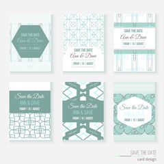 Set of stylish multipurpose Save the date vector cards. Can be
