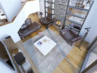 Idea of modern high-ceiling lounge room