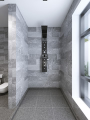 High-tech shower separate from bathroom