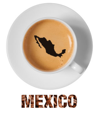 Mexico map drawing art on coffee foam in cup