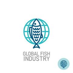 Fish with globe logo