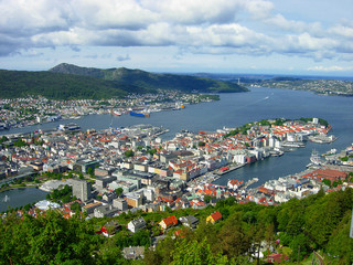View from Mount Fløyen on the city of Bergen (Norway)