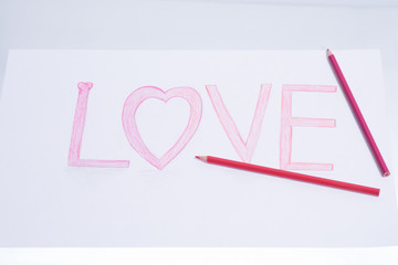 Color pencils to write words of love.