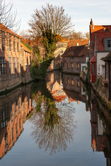 Typical houses around Dijver canal in historic center of Bruges