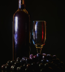 glass of wine on a dark background