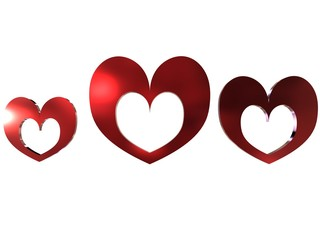 heart-shaped photoframe set in red metal