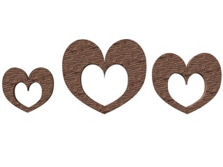 textured heart-shaped photoframe set in wood