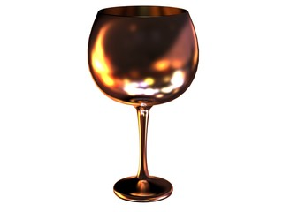 glass 3d render with reflection in metal
