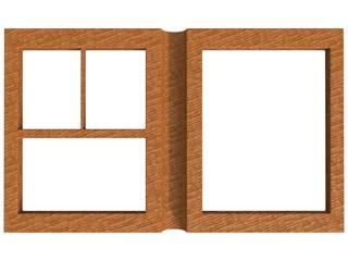 textured folding photoframe book render in brown