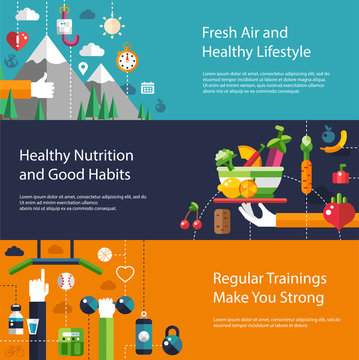Set of flat design sport, fitness and healthy lifestyle composit