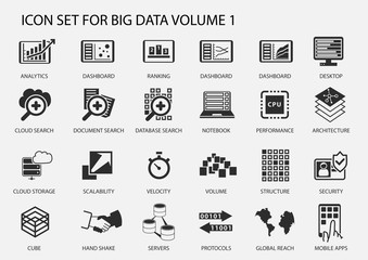 Big data vector icon set in flat design