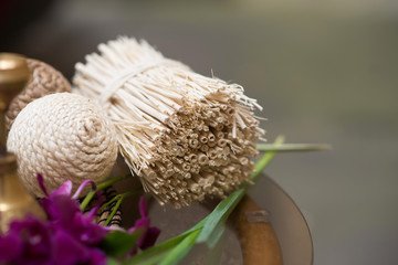 Bundle of straw and ball of rope. Decoration