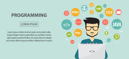 programming coding, programming banner, flat design concept