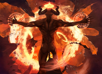 Burning diabolic demon summons evil forces and opens hell portal with ancient alchemy signs illustration.