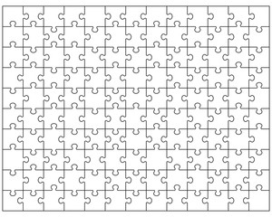 Vector Illustration of big white puzzle, separate pieces