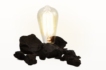 Edison Style Light Bulb In Coal Pile
