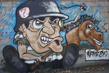 Milan, Italy:  street art, a murales