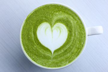 Latte art with Japanese green tea matcha